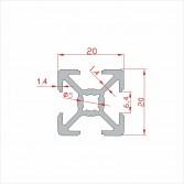 Alüminyum Sigma Profil 20x20 mm 1metre